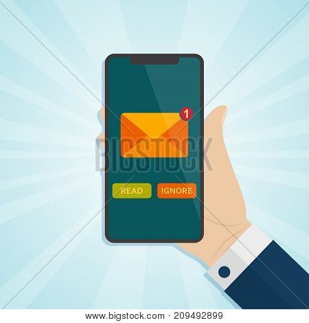 Hand holding smartphone with unread inbox message on screen . Vector illustration.