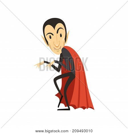Sneaking count Dracula wearing black suit and red cape. Gothic horror cute cartoon creeping tricky vampire character with fangs. Happy Halloween. Scary man. Flat design. Vector illustration isolated.