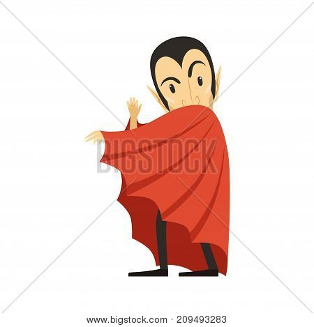 Count Dracula wearing red cape. Vampire looks out from under the cloak. Gothic horror cartoon character with fangs. Happy Halloween. Flat design. Vector illustration isolated on white.