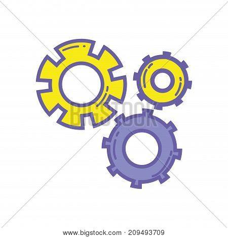color gear industry engineering process vector illustration