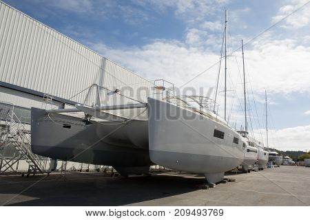 Yacht Sailboat Workshop Manufacturing In Summer Day
