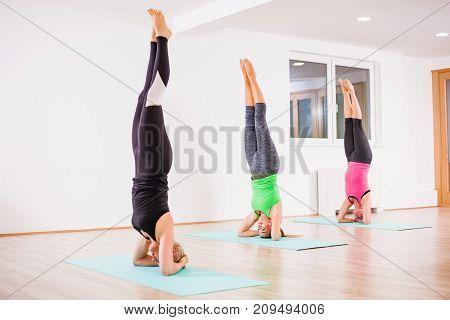 Three girls practicing yoga, Sirsasana / Headstand pose