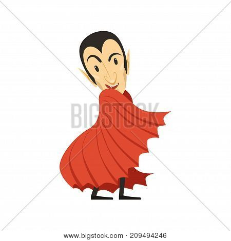 Count Dracula wearing black suit and red cape. Vampire looks out from under the cloak. Gothic horror cartoon character with fangs. Happy Halloween. Flat design. Vector illustration isolated on white.