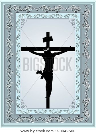 decorated frame with jesus christ in cross