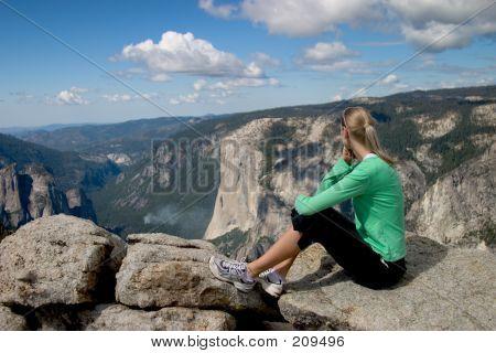Hiker Overlooking Yosemite Valley Ii