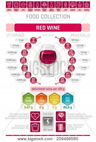 Food infographics poster, red wine alcohol drink vector illustration. Healthy eating icon set, diet design elements, vitamin mineral supplement chart, protein, lipid, carbohydrates, diagram flat flyer