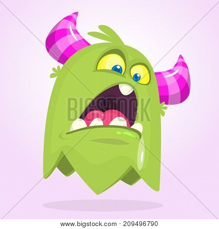 Cute small angry cartoon monster. Green monster emotion. Halloween vector illustration