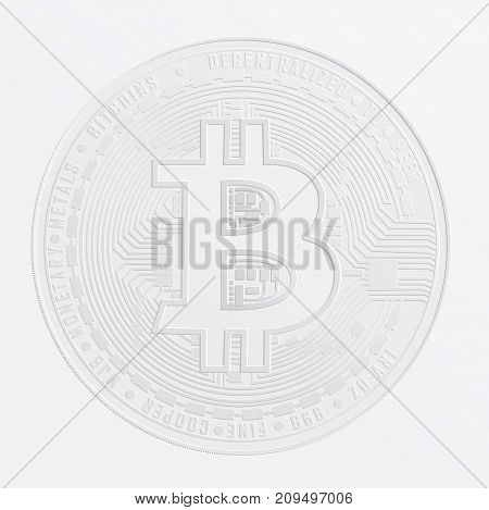 Stamp on the paper of digital currency Bitcoin. Electronic money exchanges and markets.  Vector Illustration