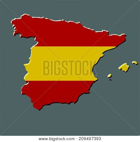 Spain map vector with the spanish flag on grey background