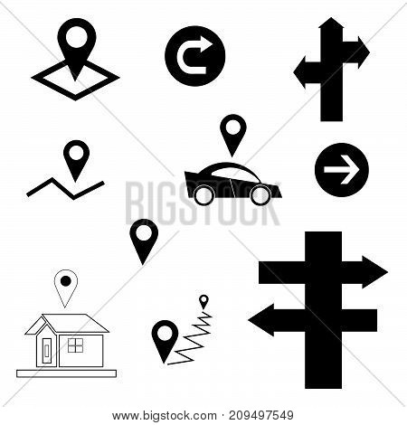 vector set with map sign, arrow, car, house, direction signpost