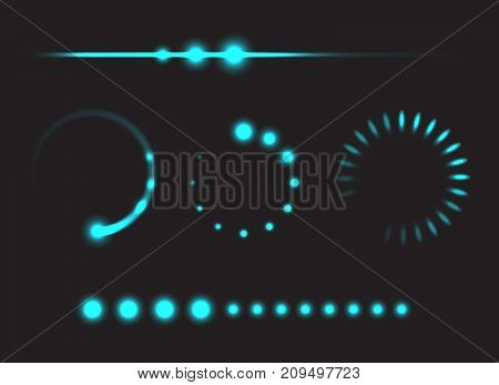 Set of progress bars - template elements glowing design vector illustration