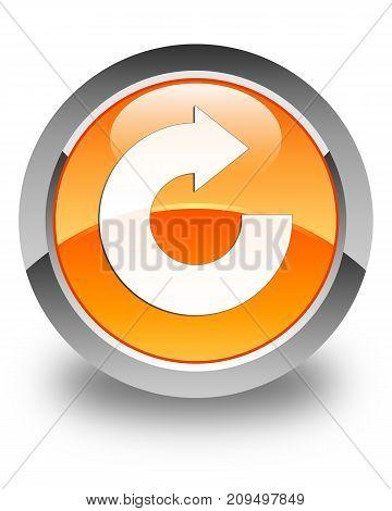 Reply Arrow Icon Glossy Orange Round Button