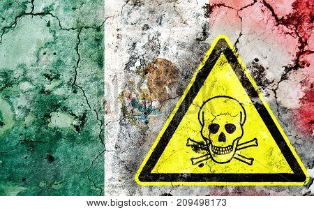 Old Cracked Wall With Poison Warning Sign And Painted Flag