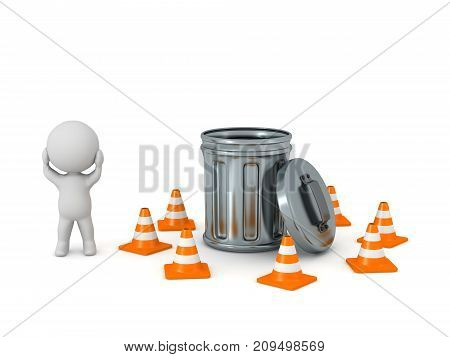 Stressed 3D character with a garbage can surrounded by orange cones. Isolated on white background.