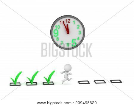 3D character running and finishing task after task. Isolated on white background.