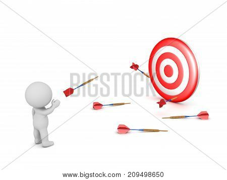 3D character throwing several darts toward a target and missing. Isolated on white background.