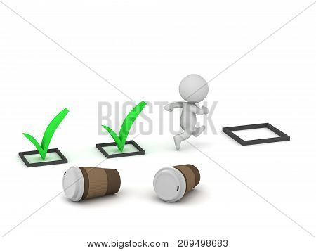3D character with large coffee cups running and finishing tasks. Isolated on white background.