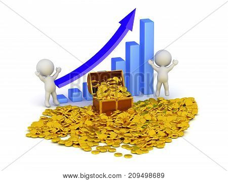 3D characters with piles of gold coins a treasure chest and a chart indicating profit. Isolated on white background.