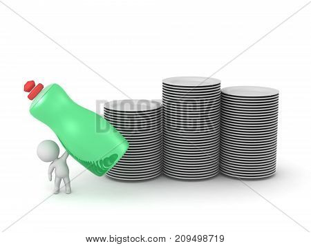3D character with a large bottle of dish soap and several stacks of dishes. Isolated on white background.