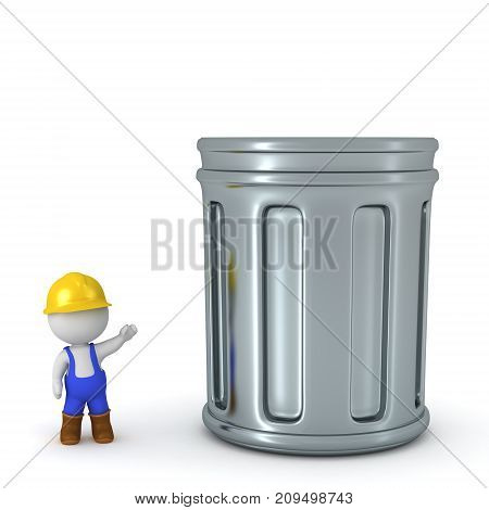 A small 3D character in hard hat and overalls showing a big trash can. Isolated on white background.
