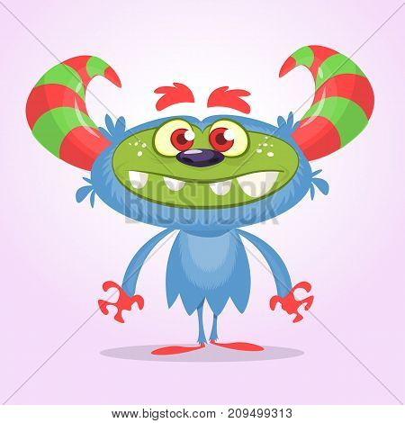 Cute fluffy blue monster yeti. Vector happy troll monster mascot with big horns