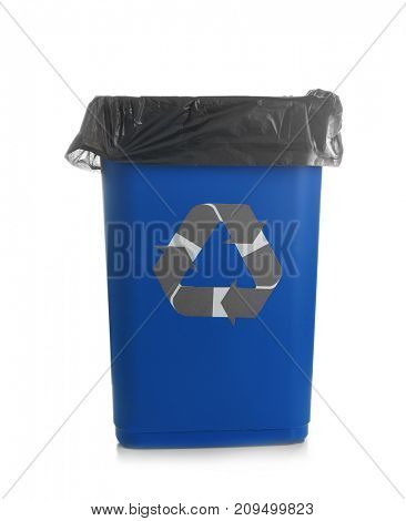 Blue rubbish bin with logo of recycling on white background