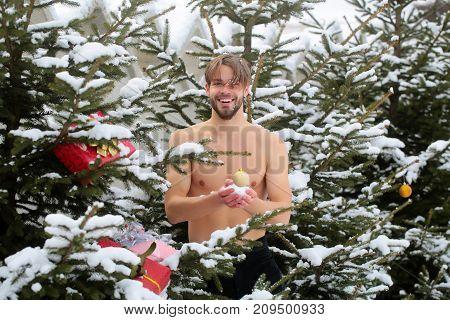 Caucasian Macho Smiling On Winter Day