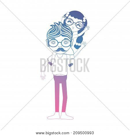 line father playing his daughter with clothes design vector illustration