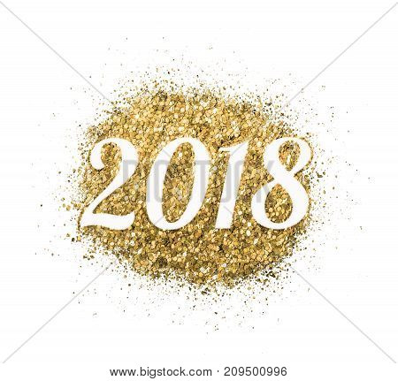 2018 of gold glitter on white background symbol of New Year for your greeting card design.
