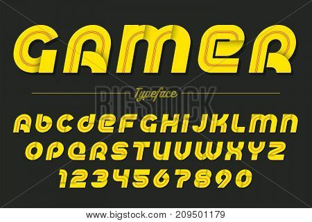 Gamer vector decorative italic font design, alphabet, typeface, typography. Vector illustration