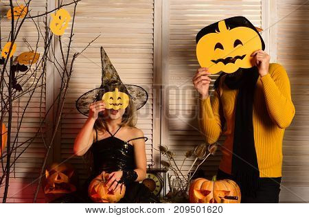 Halloween Party Concept. Wizard And Little Witch In Hat