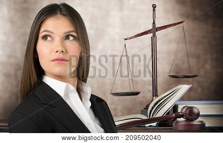 Business woman justice businesswoman scales table background