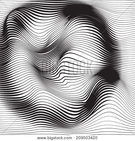 Distorted wave monochrome texture. Abstract dynamical rippled surface. Vector stripe  deformation background. Distress glitch effect.