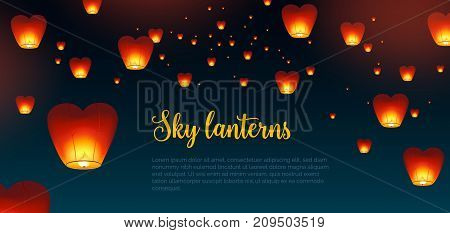 Beautiful horizontal background with Kongming Chinese lanterns and place for text. Backdrop with traditional asian festival airborne decorations in dark night sky. Colorful vector illustration
