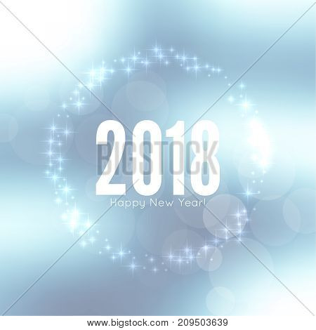 Abstract blurred vector background with sparkle stars. Happy New Year 2018 theme. For decorations festivals, xmas, glamour holiday, illuminated, celebration.