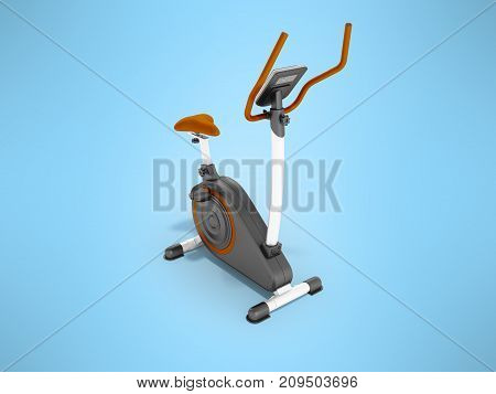 Modern Sports Exercise Bike With Electric Control Home Orange 3D Render On A Blue Background