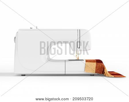 Modern White Sewing Machine With Material For Tailoring On The Right 3D Render On A White Background