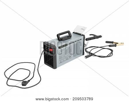 Inverter Welding Machine With Cable For Welding Electrodes With A Blue Rear 3D Render On A White Bac