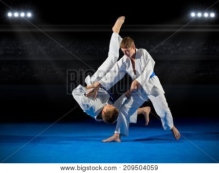 Little boys martial arts fighters in sports hall