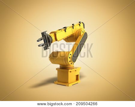 Industrial Robot On Yellow Background 3D Rendering