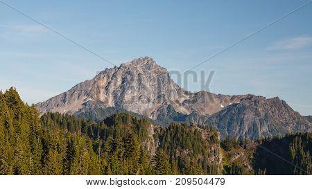 View of Sloan Peak from Mount Dickerman hiking trail in the Autumn season.