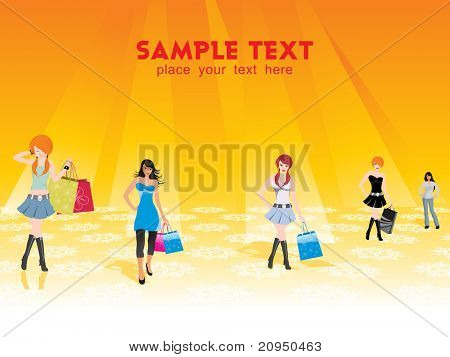 group of five shopping girls on the background, vector illustration