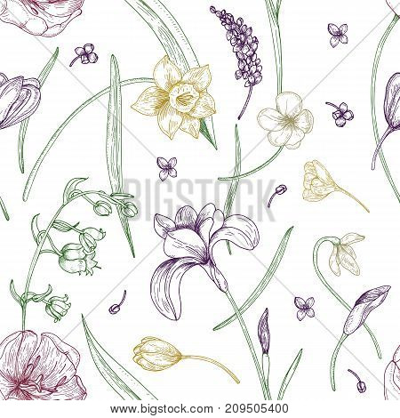 Elegant seamless pattern with gorgeous blooming spring flowers hand drawn with contour lines on white background. Natural vector illustration for fabric print, wallpaper, wrapping paper, backdrop