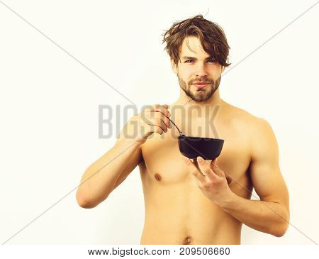 Caucasian Sexy Young Macho Holding Black Bowl With Fork