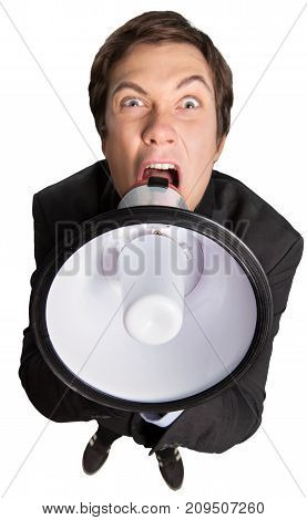 Business one man megaphone background person young