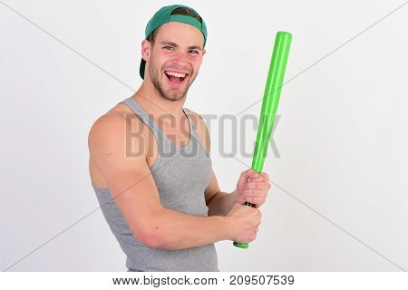 Man In Cyan Green Baseball Hat On White Background.