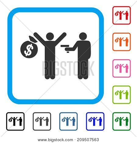Armed Robbery icon. Flat gray pictogram symbol inside a light blue rounded rectangle. Black, gray, green, blue, red, orange color versions of Armed Robbery vector.