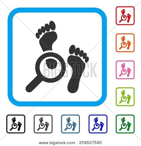 Audit Footprints icon. Flat grey pictogram symbol in a light blue rounded rectangle. Black, gray, green, blue, red, orange color versions of Audit Footprints vector.