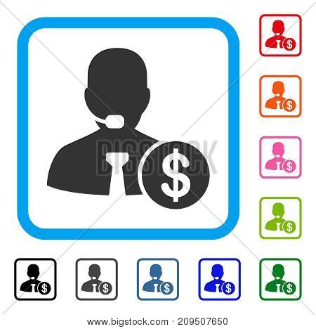 Bank Call Center icon. Flat gray pictogram symbol inside a light blue rounded rectangular frame. Black, gray, green, blue, red, orange color additional versions of Bank Call Center vector.