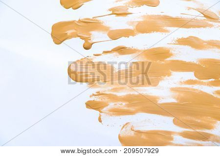Makeup foundation blur cream isolated background. Top view collage corrective tonal base. Macro Tonal Foundation, skin tone. Foundation for all skin types. Closeup of flat Makeup. Set of tonal cream